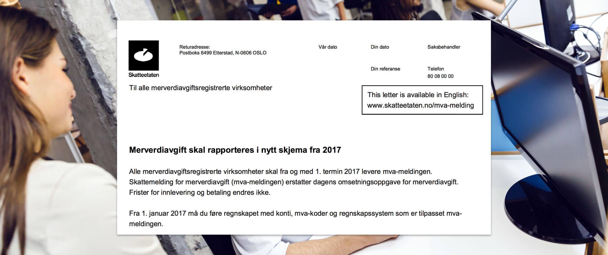 Bilde av brev fra Skatteetaten om ny MVA-melding