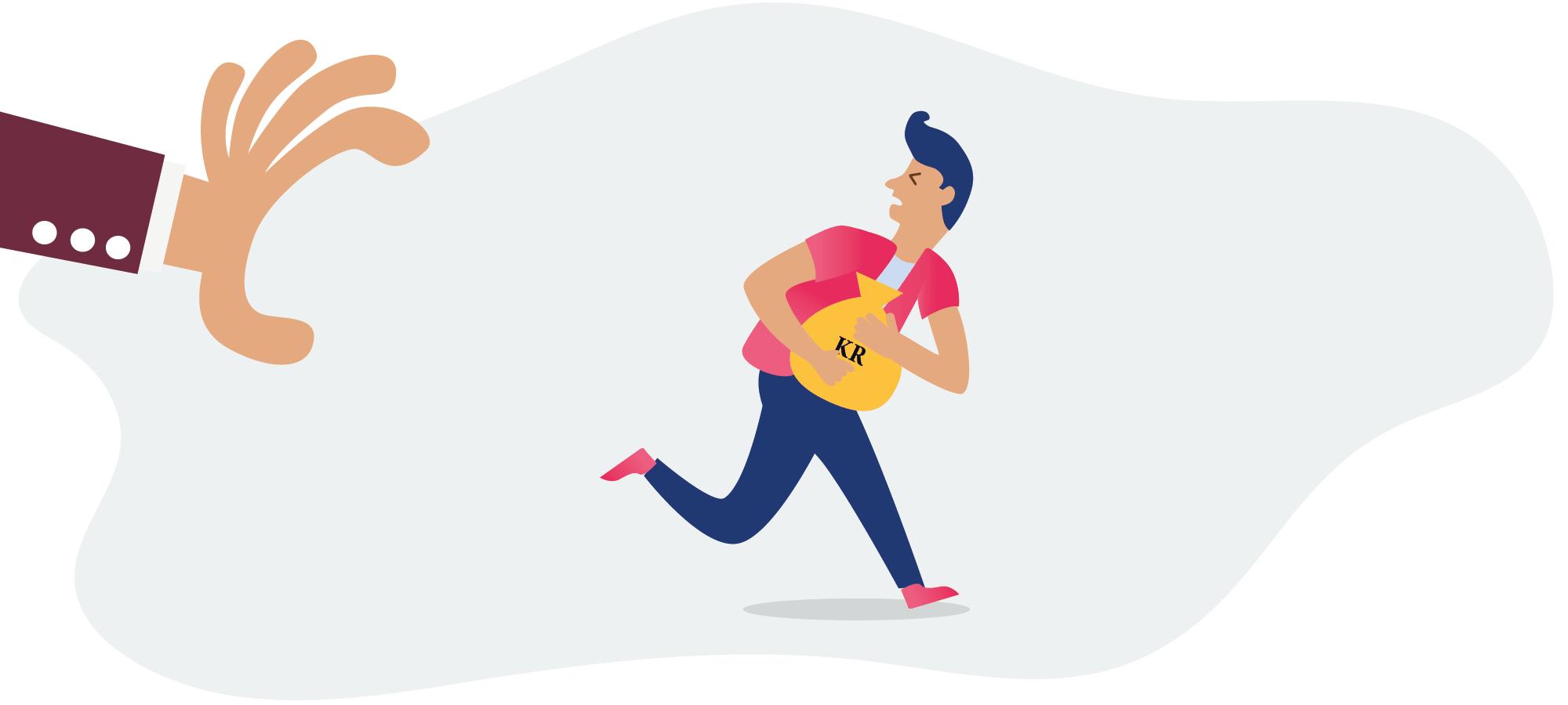 Mann med pengesekk som løper fra en stor hånd