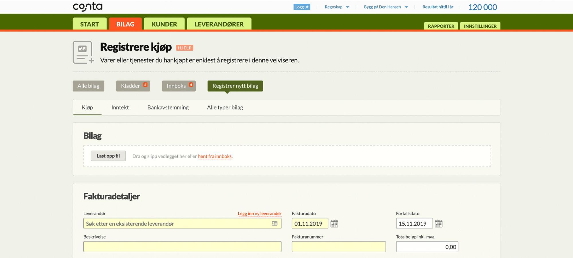 Registrer kjøp i Conta