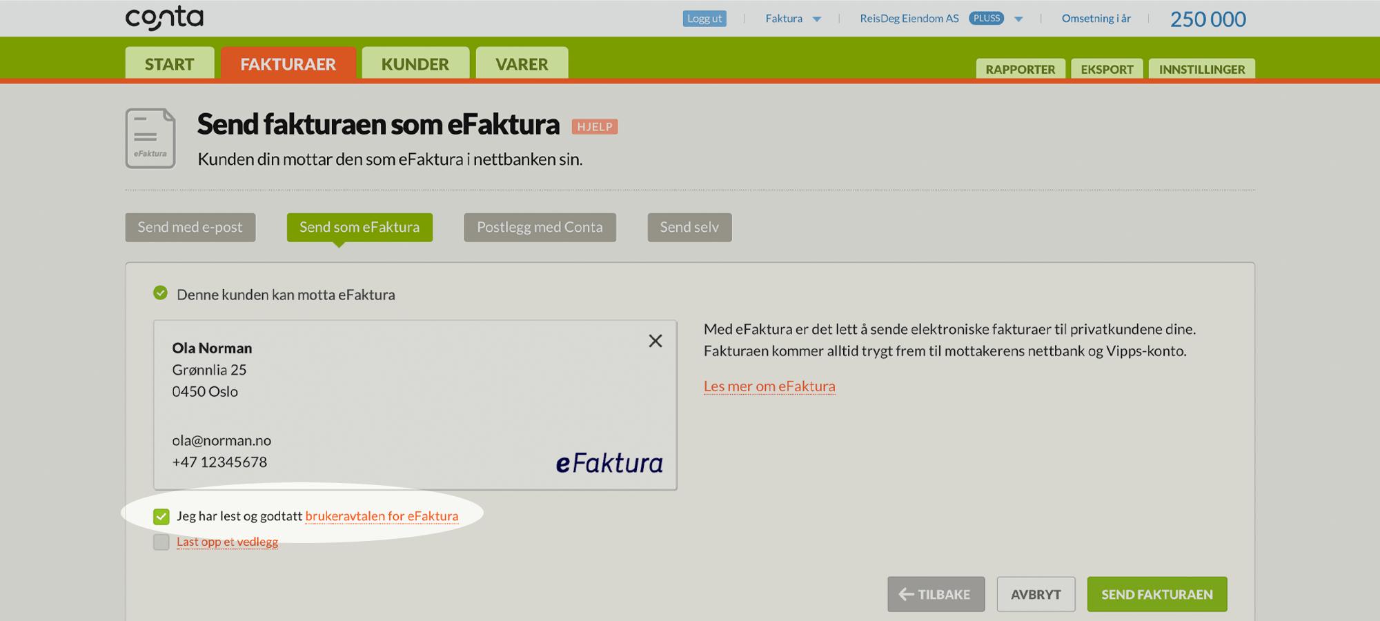 Huk av for brukeravtalen i Conta første gang du sender eFaktura