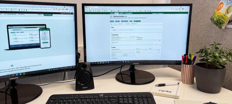 to dataskjermer med regnskapsprogram fra conta.