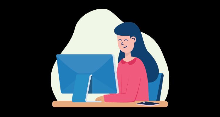 Illustrasjon av kvinne som sitter ved en dataskjerm.